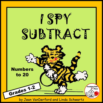 I SPY SUBTRACT to 20 | NO PREP MATH Puzzles | REVIEW Subtraction  | Gr 1-2 CORE