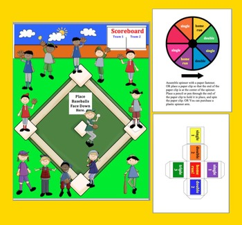 Subtraction Facts Math Center Activities Baseball-4 Ways to Play-Common Core