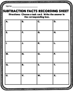 Subtraction Facts Math Center Set 2