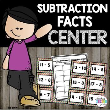 Subtraction Facts Math Center Set 2
