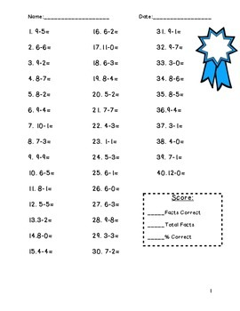 Subtraction Facts Pack