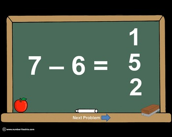 Subtraction Facts PowerPoint Quiz - Matching Worksheet & Key Included!