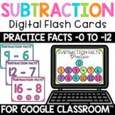 Subtraction Fact Fluency Practice 0-12 Digital FlashCards