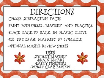 Subtraction Facts Practice 0-12 Mega Pack