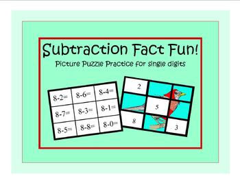 Subtraction Facts Practice Puzzle for single digits