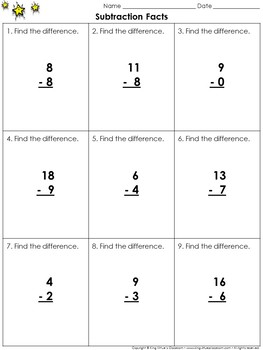 Subtraction Facts Practice Sheets - King Virtue's Classroom