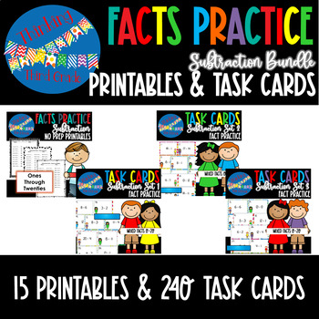 Subtraction Facts Practice Task Cards and Worksheets COMPLETE BUNDLE
