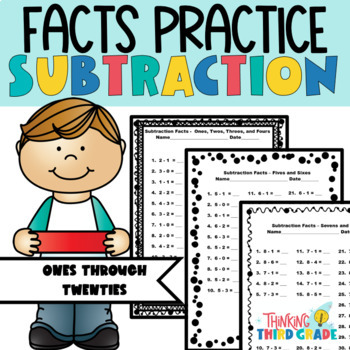 Subtraction Facts Practice Worksheets Assessment, Homework, or Daily Review