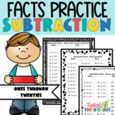 Subtraction Facts Practice Worksheets Assessment, Homework