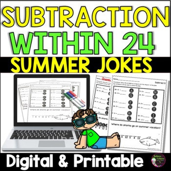 Subtraction Facts Practice with Summer Jokes