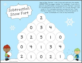 Subtraction Facts Snow Fort Game - No Prep