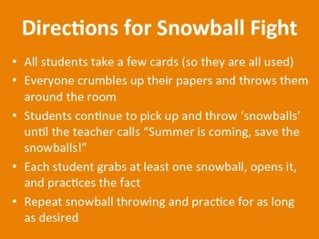 Subtraction Facts Snowball Fight Game