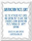 Subtraction Facts Sort