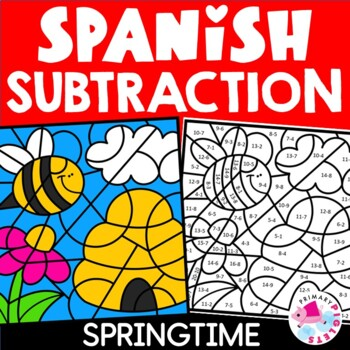 Subtraction Facts Spanish Color by Number Spring Edition