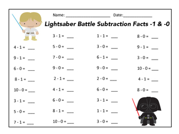Subtraction Facts Star Wars Themed - 0 through -10