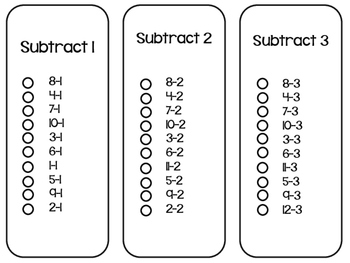 Subtraction Facts Sticker Book