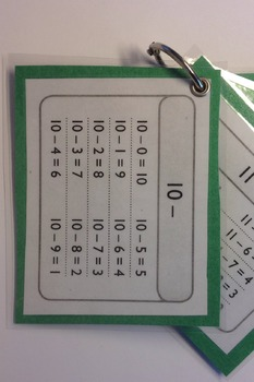 Subtraction Facts Study Cards