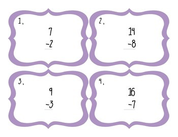 Subtraction Facts Task Cards - 2 Sets