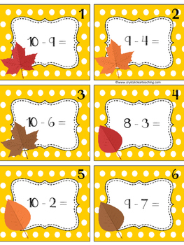 Subtraction Facts Task Cards - Fall Themed