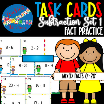 Subtraction Facts Task Cards SET 1 2nd 3rd 4th grade SCOOT