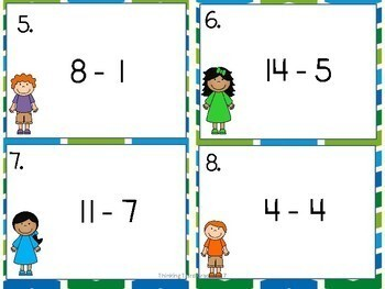 Subtraction Facts Task Cards SET 2 2nd 3rd 4th Grade SCOOT