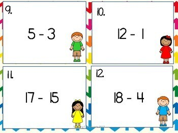 Subtraction Facts Task Cards SET 3 2nd 3rd 4th grade SCOOT