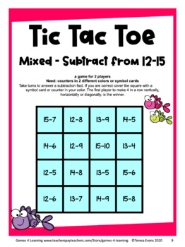 graphic regarding Free Printable Maths Games identify Tic Tac Toe: Cost-free Subtraction Information and facts Game titles