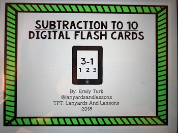 Subtraction Facts To Ten Digital Flash Cards