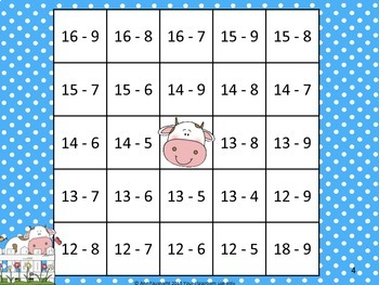 Subtraction Facts Bingo featuring Trickier Differences