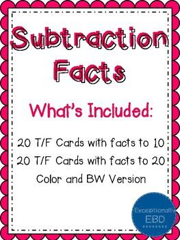 Subtraction Facts True False Sort