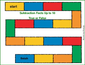Subtraction Facts Up to 10 True or False Game