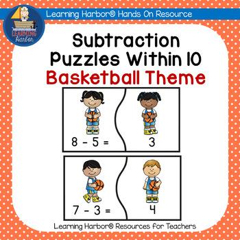 Basketball Math Subtraction Fact Fluency Puzzles for Kindergarten & First Grade