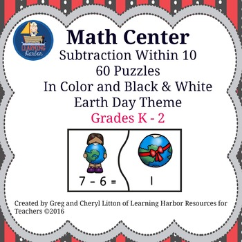 Subtraction Facts Within 10 - Earth Day Theme