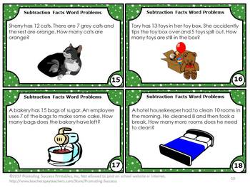 Subtraction Word Problems Task Cards, 1st Grade Math Centers, Subtraction Games