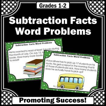 Subtraction Facts Word Problems Task Cards for Math Center