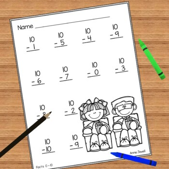 subtraction practice worksheets for kindergarten and 1st grade by annie jewell. Black Bedroom Furniture Sets. Home Design Ideas
