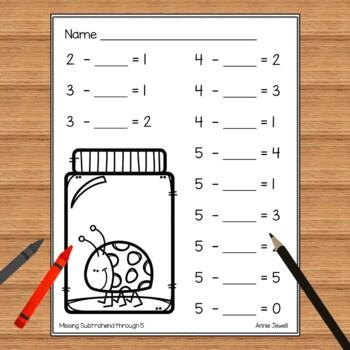 Subtraction Practice Worksheets for Kindergarten and 1st Grade