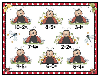 Subtraction 10: Ladybug File Folder Game Spring First Grade