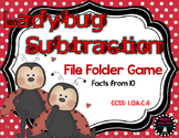 Subtraction 10: Ladybug File Folder Game Spring First Grade