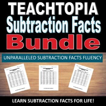 Teachtopia Subtraction Facts Bundle Math Subtraction Timed Math Fact Quizzes