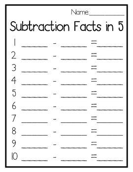 Subtraction Facts in 5 Write the Room