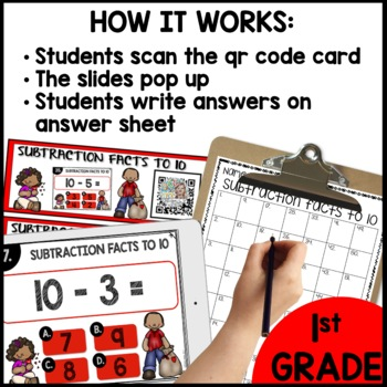 Subtraction Facts to 10  DIGITAL TASK CARDS