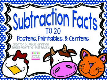 Subtraction Facts to 20- Centers, Printables, and Posters