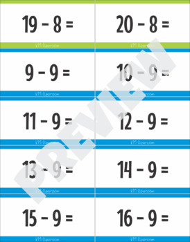 Subtraction Facts to 20 Flash Cards Mastering Math Facts