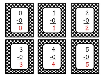Subtraction Facts to 20: Flash Cards
