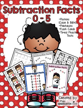 Subtraction Fact Fluency to 5 Posters, Printables, and Flash Cards - K.OA.5