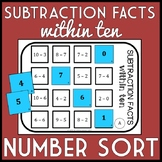 Subtraction Facts within 10 Number Sort, Matching Game, Includes TEN versions!