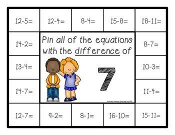 Subtraction Facts (within 20) - Self-Checking Math Centers