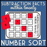 Subtraction Facts within 20 Number Sort, Matching Game, Math Center