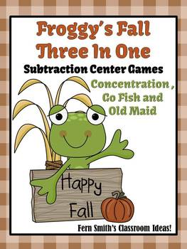 Math Center Games Subtraction Centers Fall With Froggy